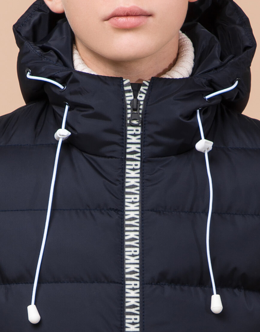 Сине-черная куртка детская стильная модель 65028 фото 5