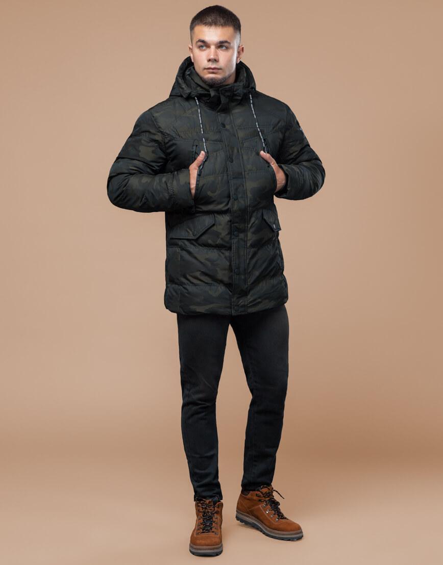 Молодежная зимняя темно-зеленая куртка модель 25140 фото 3