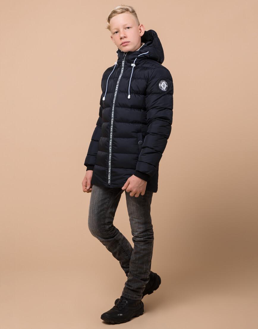 Сине-черная куртка детская стильная модель 65028 фото 3