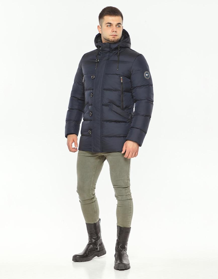 Теплая куртка мужская темно-синего цвета модель 37485 фото 1