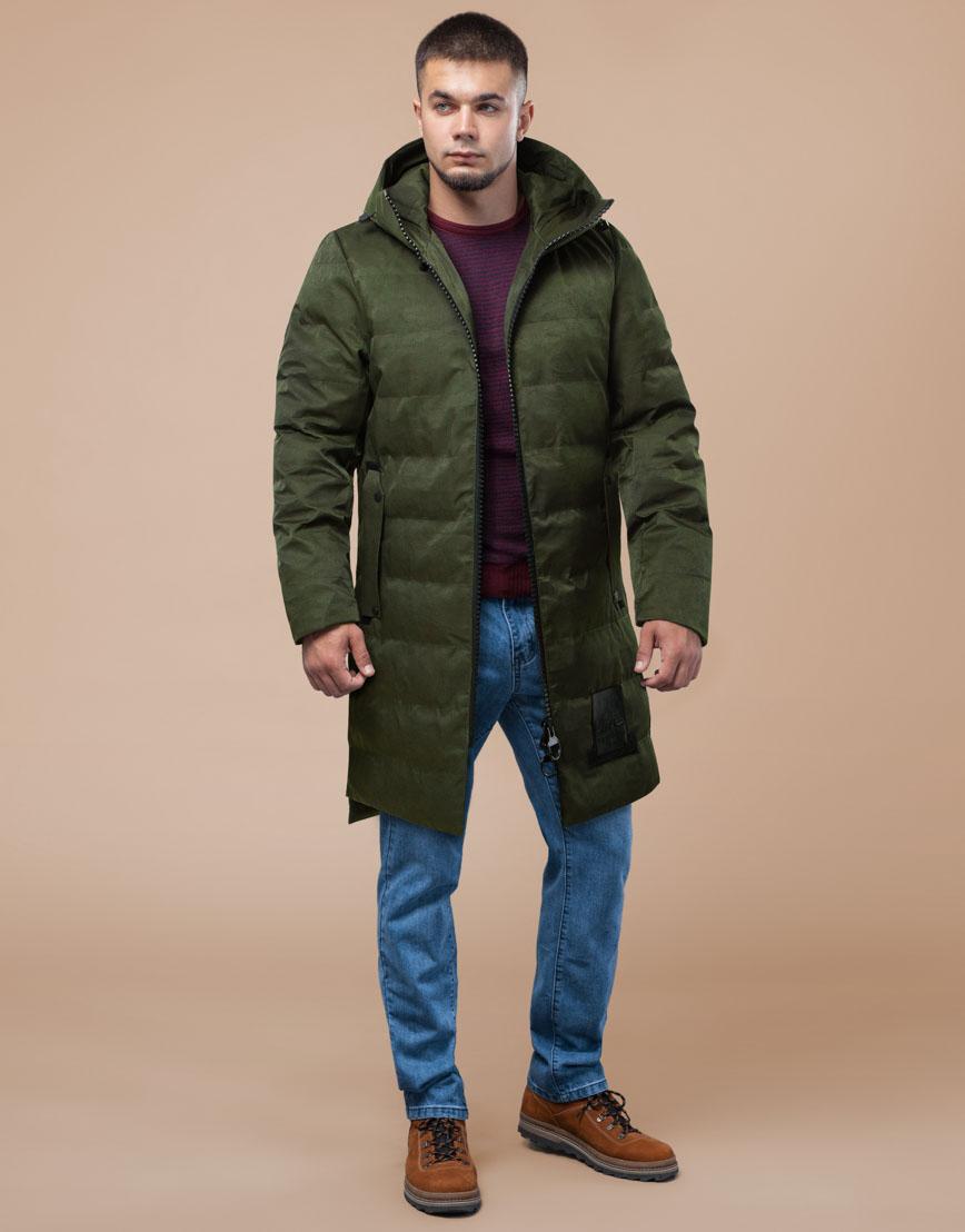 Мужская парка зимняя практичная цвета хаки модель 25800 фото 2