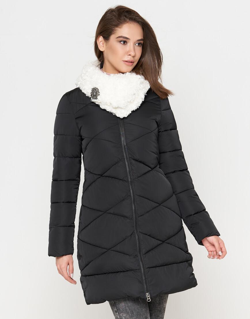 Модная зимняя куртка женская черная модель 5266