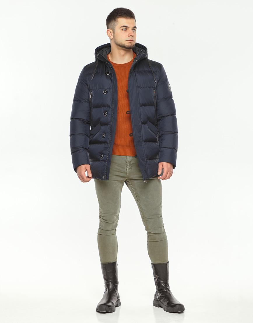 Теплая куртка мужская темно-синего цвета модель 37485 фото 2