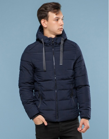 Темно-синяя подростковая современная куртка модель 6008-1 фото 1