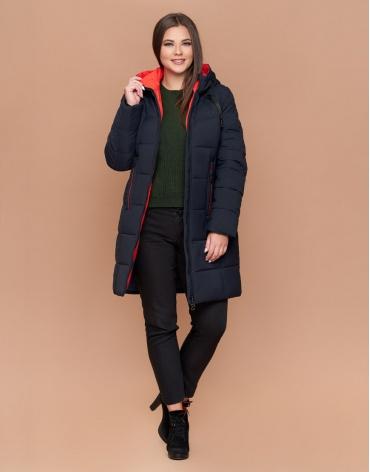 Куртка женская зимняя большого размера темно-синяя качественная модель 25175
