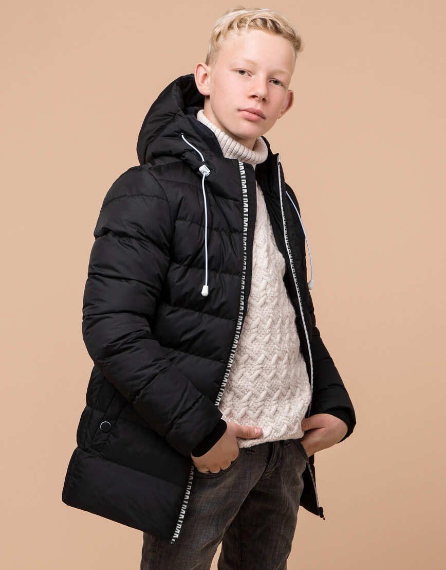 Черная детская куртка модного дизайна модель 65028 фото 2