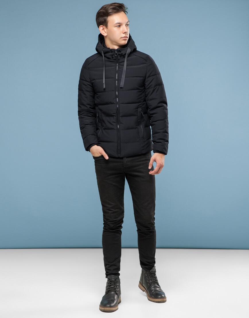 Удобная подростковая черная куртка модель 6008 фото 2
