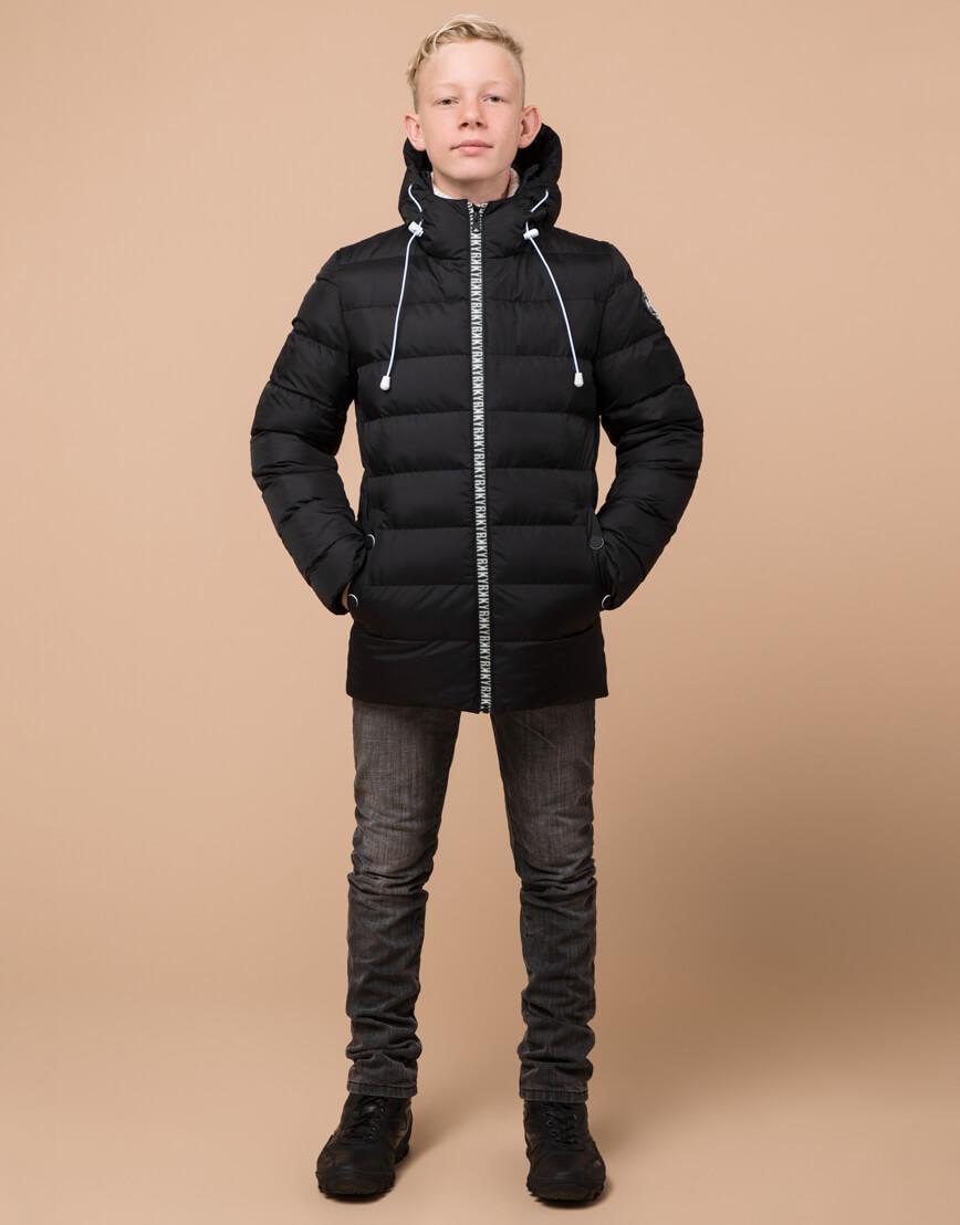 Черная детская куртка модного дизайна модель 65028 фото 1