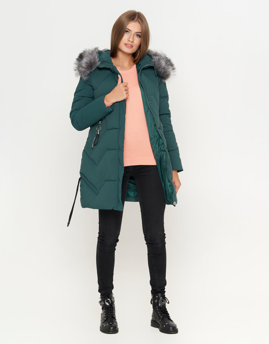 Куртка женская зеленая зимняя модель 6372 фото 1