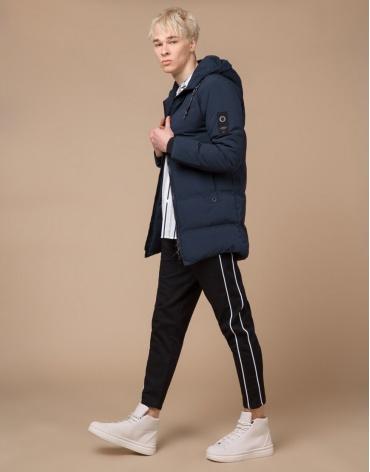 Подростковая модная темно-синяя куртка модель 25400 оптом