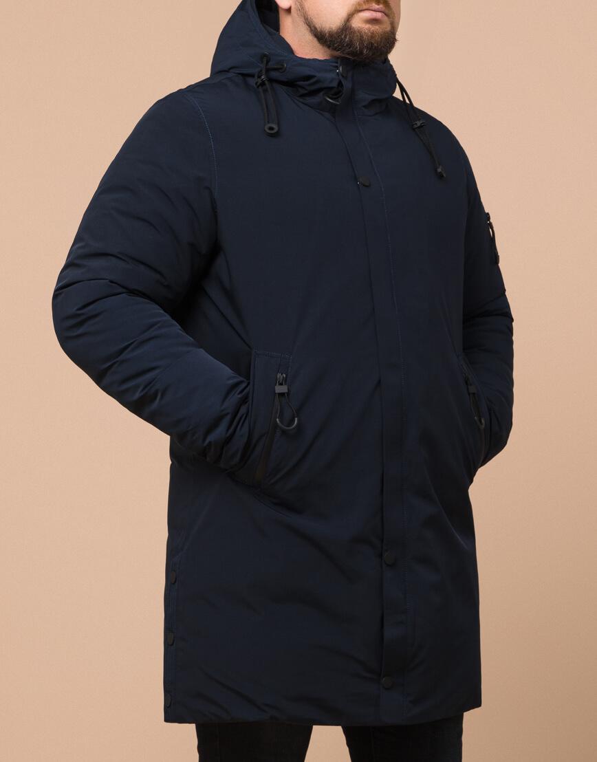 Темно-синяя мужская парка на зиму модель 23425 оптом фото 2