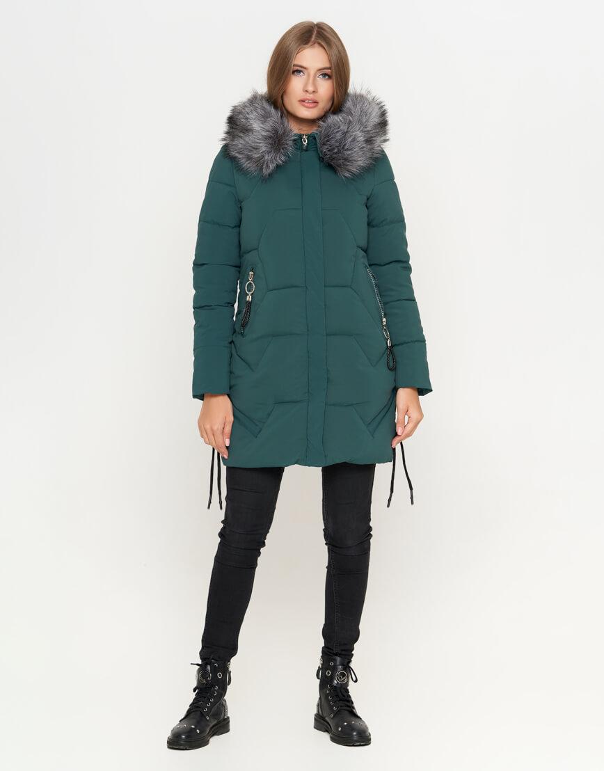 Куртка женская зеленая зимняя модель 6372 фото 2