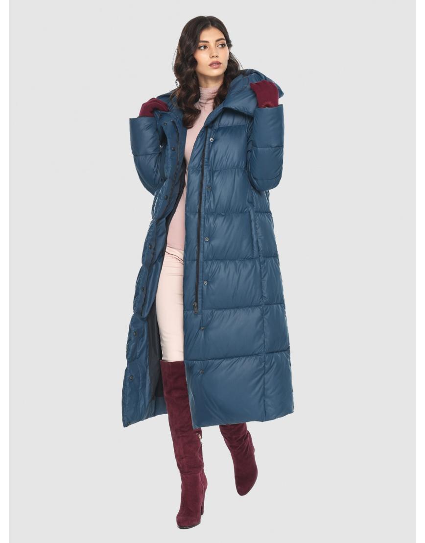 Тёплая женская длинная куртка Vivacana синяя 9150/21 фото 6