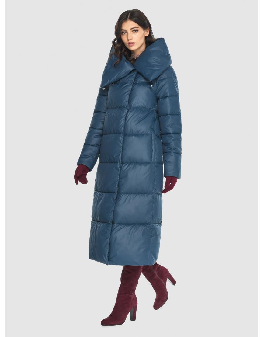 Тёплая женская длинная куртка Vivacana синяя 9150/21 фото 3