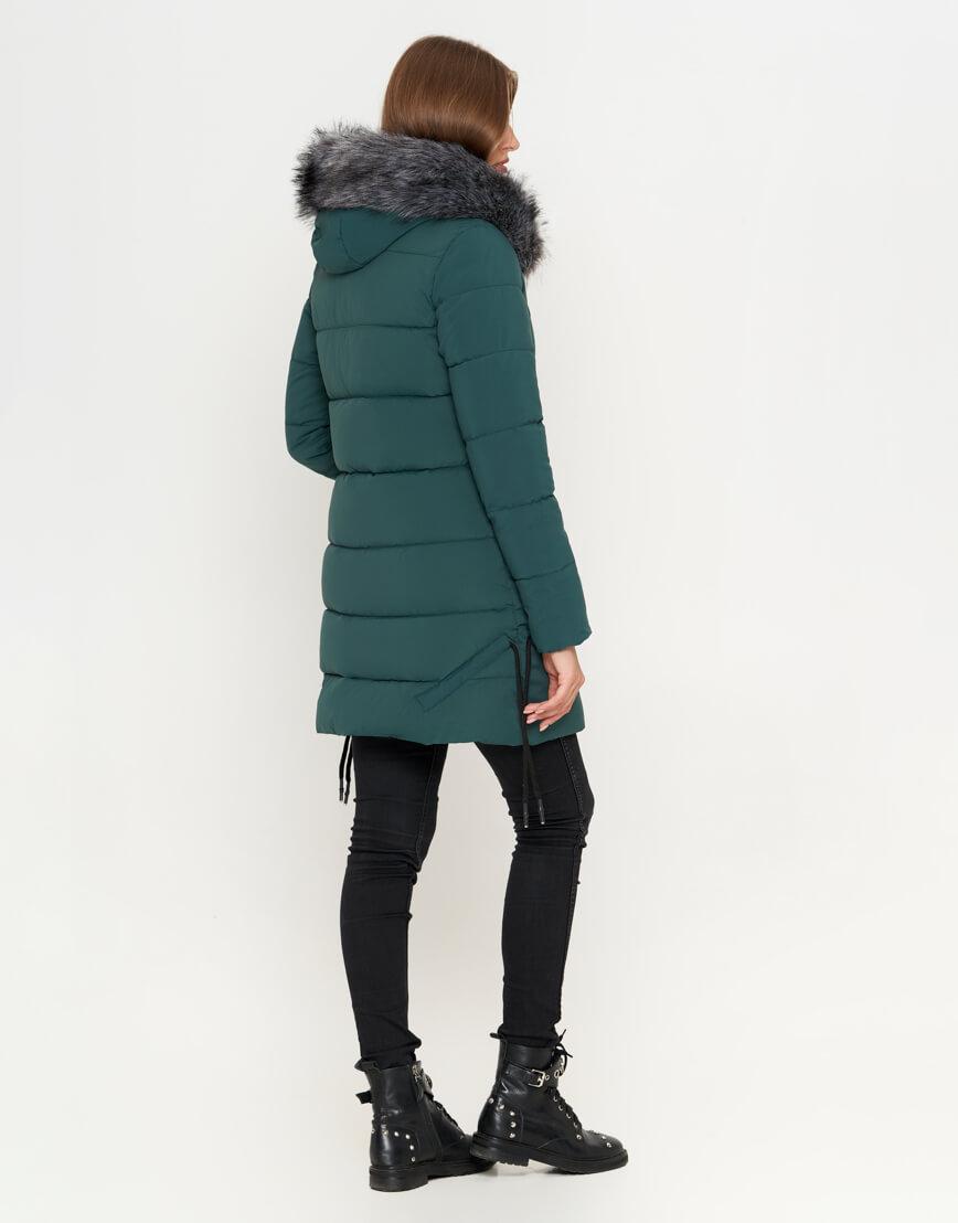 Куртка женская зеленая зимняя модель 6372 фото 3