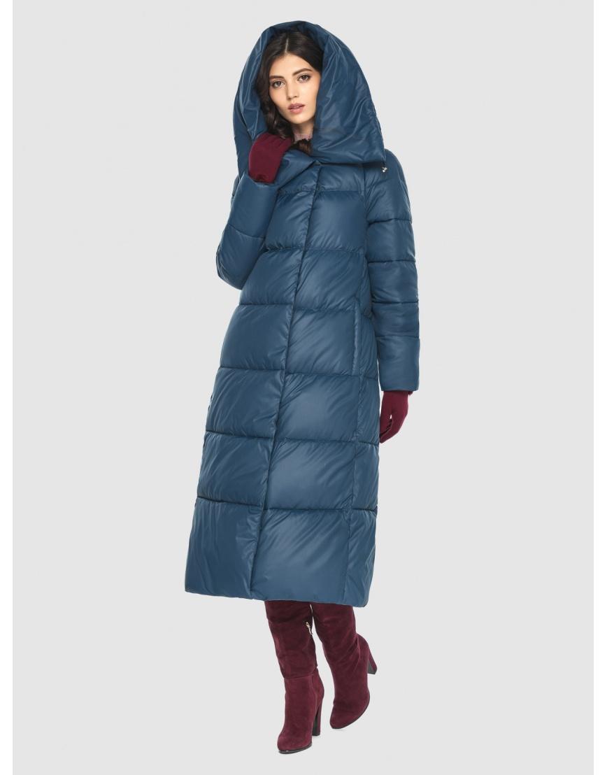 Тёплая женская длинная куртка Vivacana синяя 9150/21 фото 2