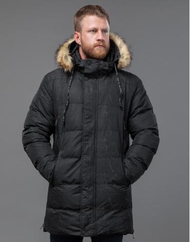 Мужская дизайнерская куртка черная на зиму модель 77080