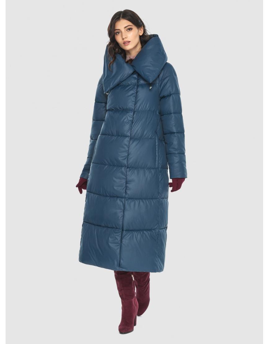 Тёплая женская длинная куртка Vivacana синяя 9150/21 фото 5