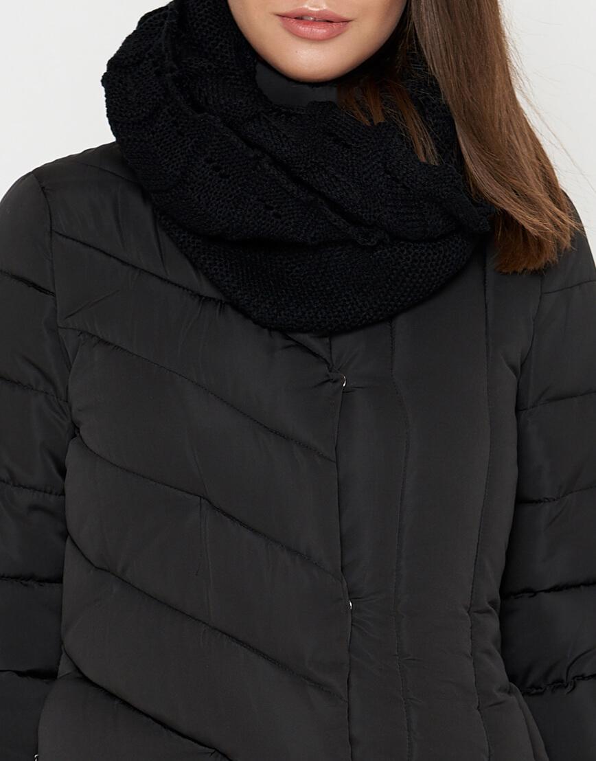 Зимняя черная женская куртка с поясом модель 9082