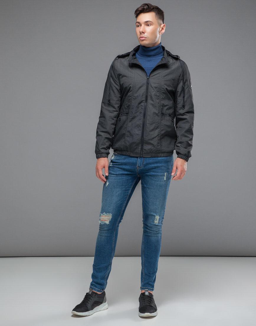 Темно-серая ветровка мужская осенне-весенняя стильная модель 38399 фото 1