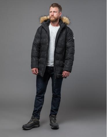 Дизайнерская черная куртка с вшитым капюшоном модель 51480