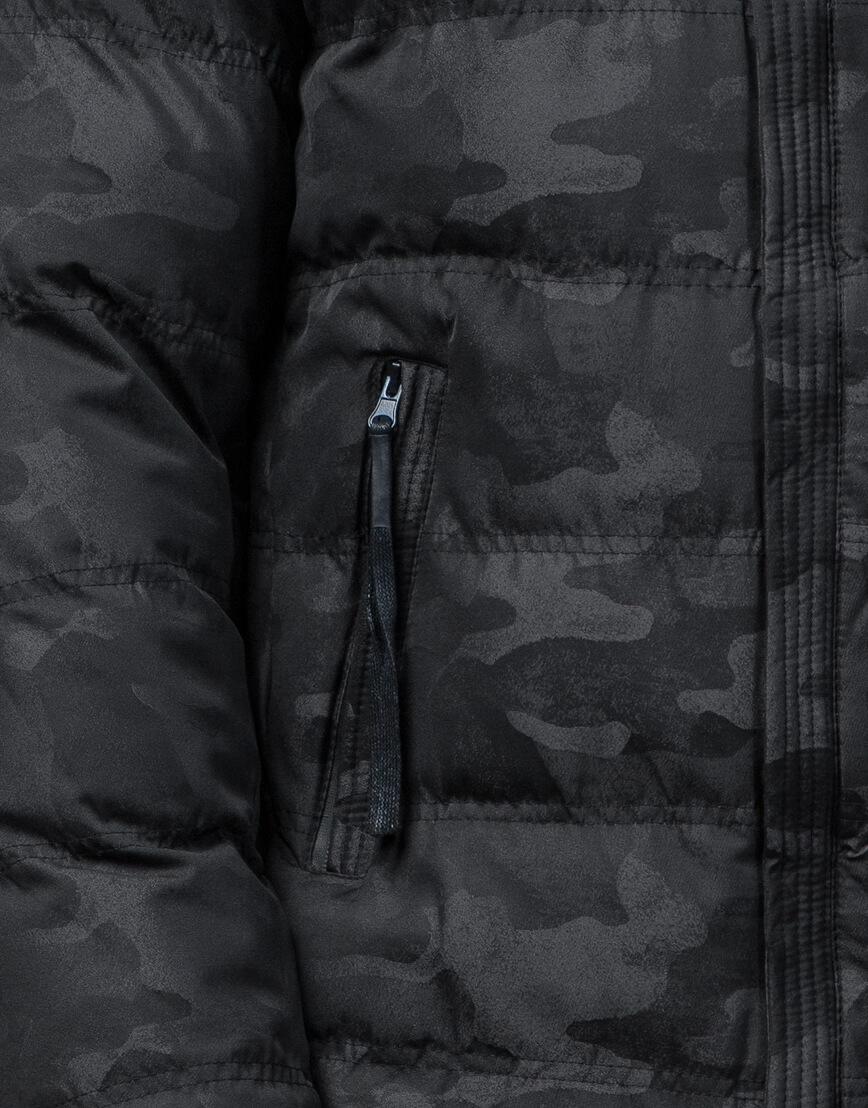 Дизайнерская черная куртка с вшитым капюшоном модель 51480 фото 6