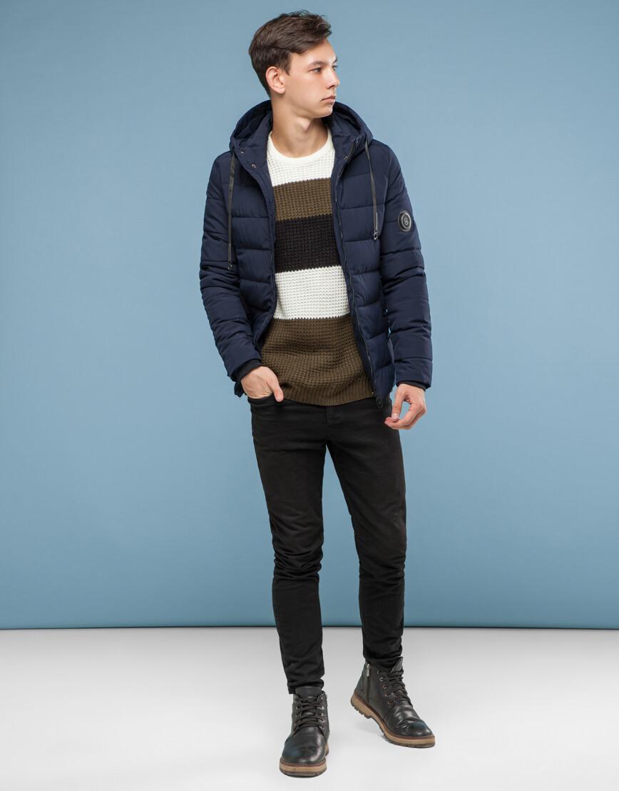 Темно-синяя подростковая комфортная куртка модель 6009 фото 2