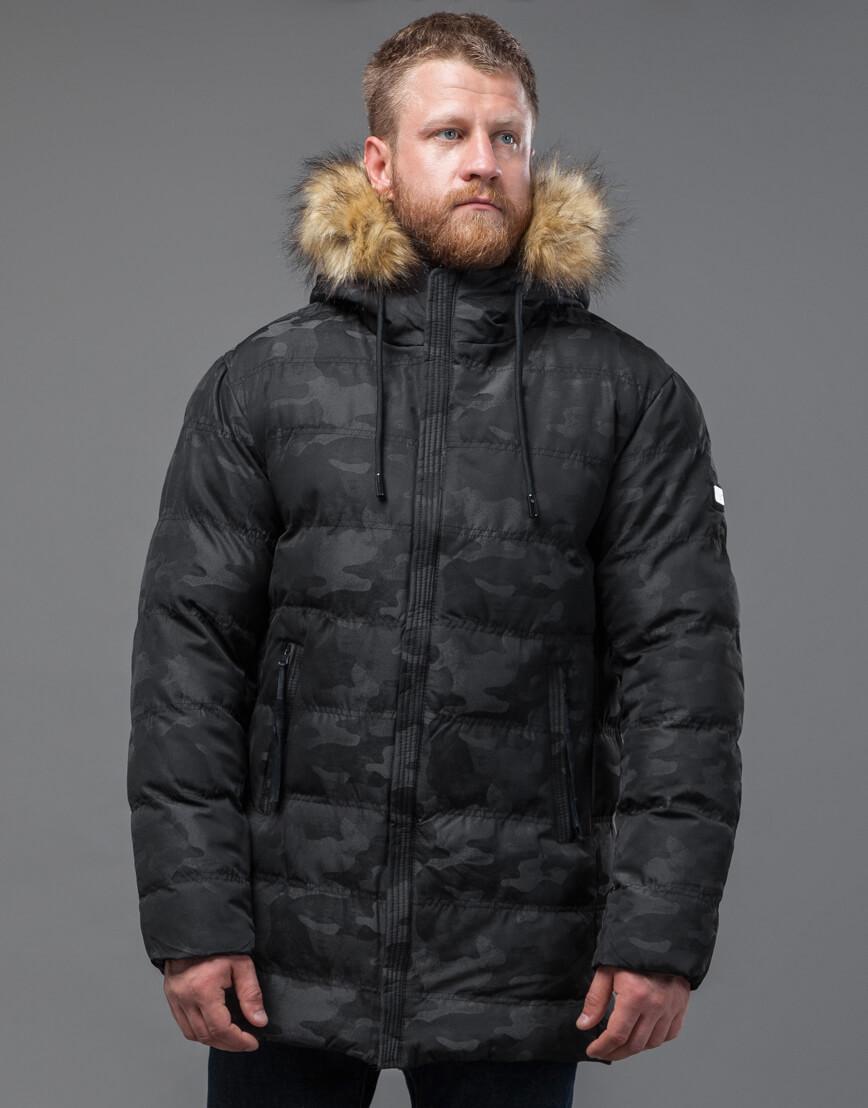 Дизайнерская черная куртка с вшитым капюшоном модель 51480 фото 3
