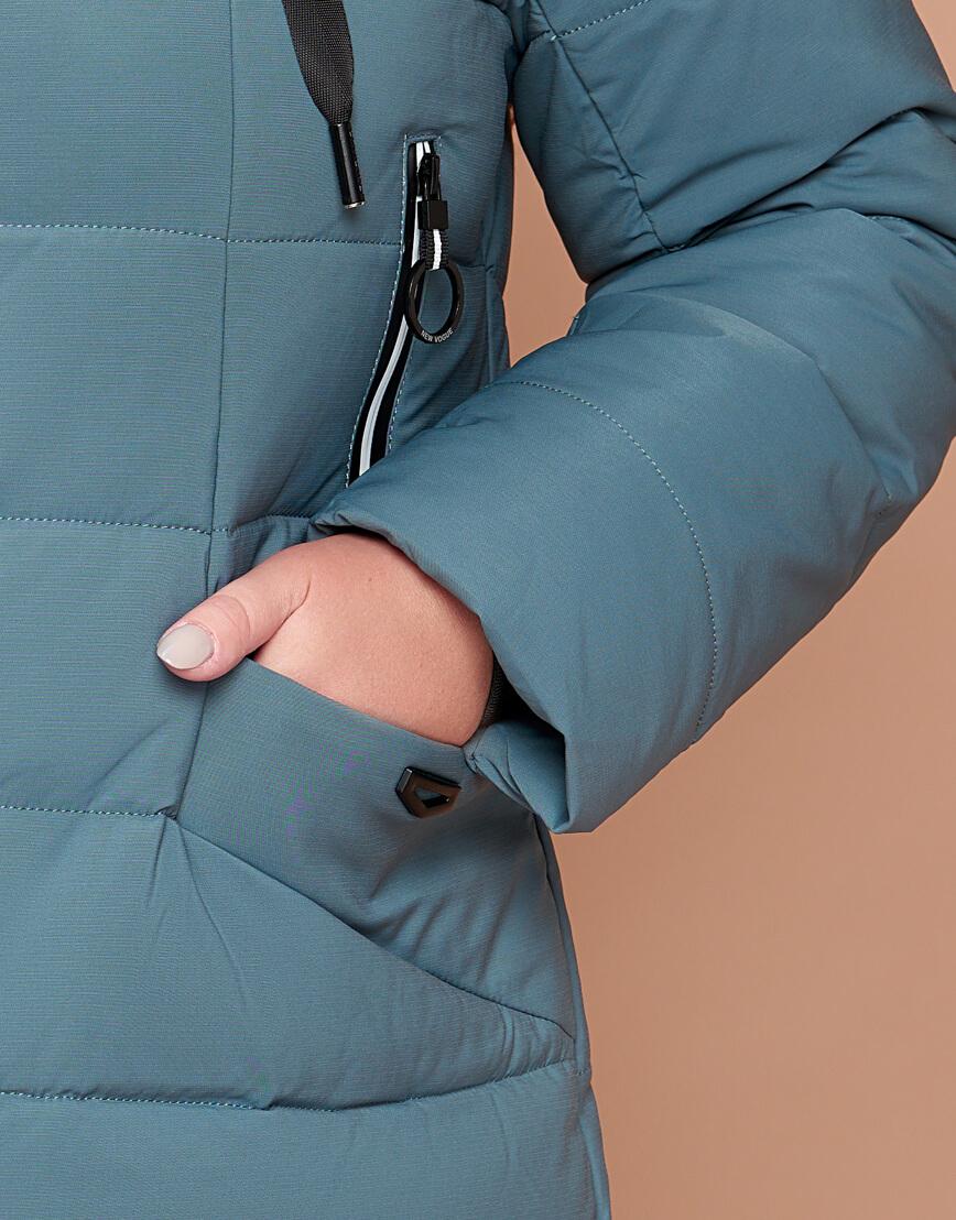 Зимняя женская куртка большого размера цвета светлой бирюзы модель 25275