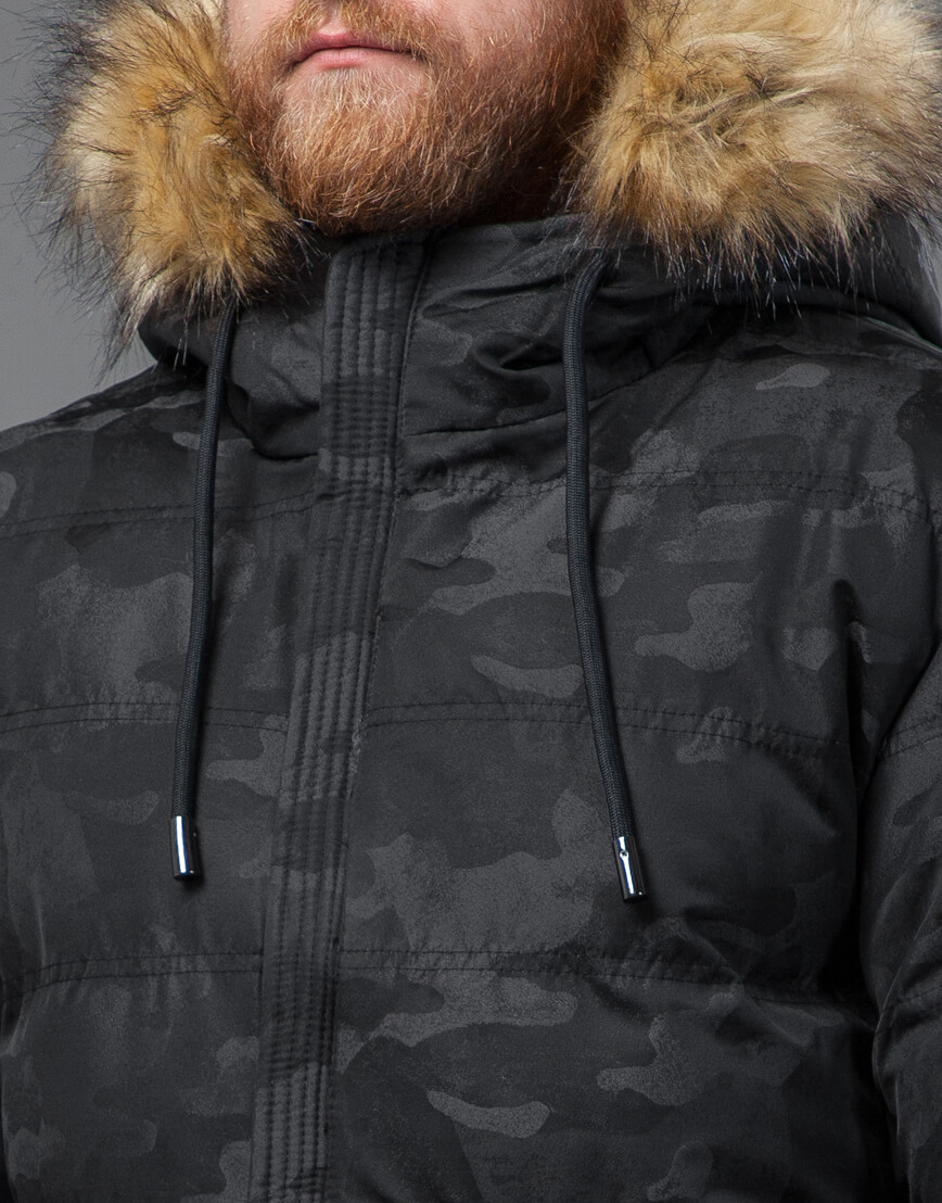 Дизайнерская черная куртка с вшитым капюшоном модель 51480 фото 5