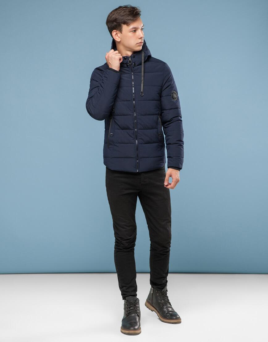 Темно-синяя подростковая комфортная куртка модель 6009 фото 1