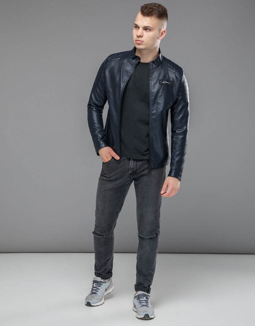 Темно-синяя брендовая куртка модель 36361