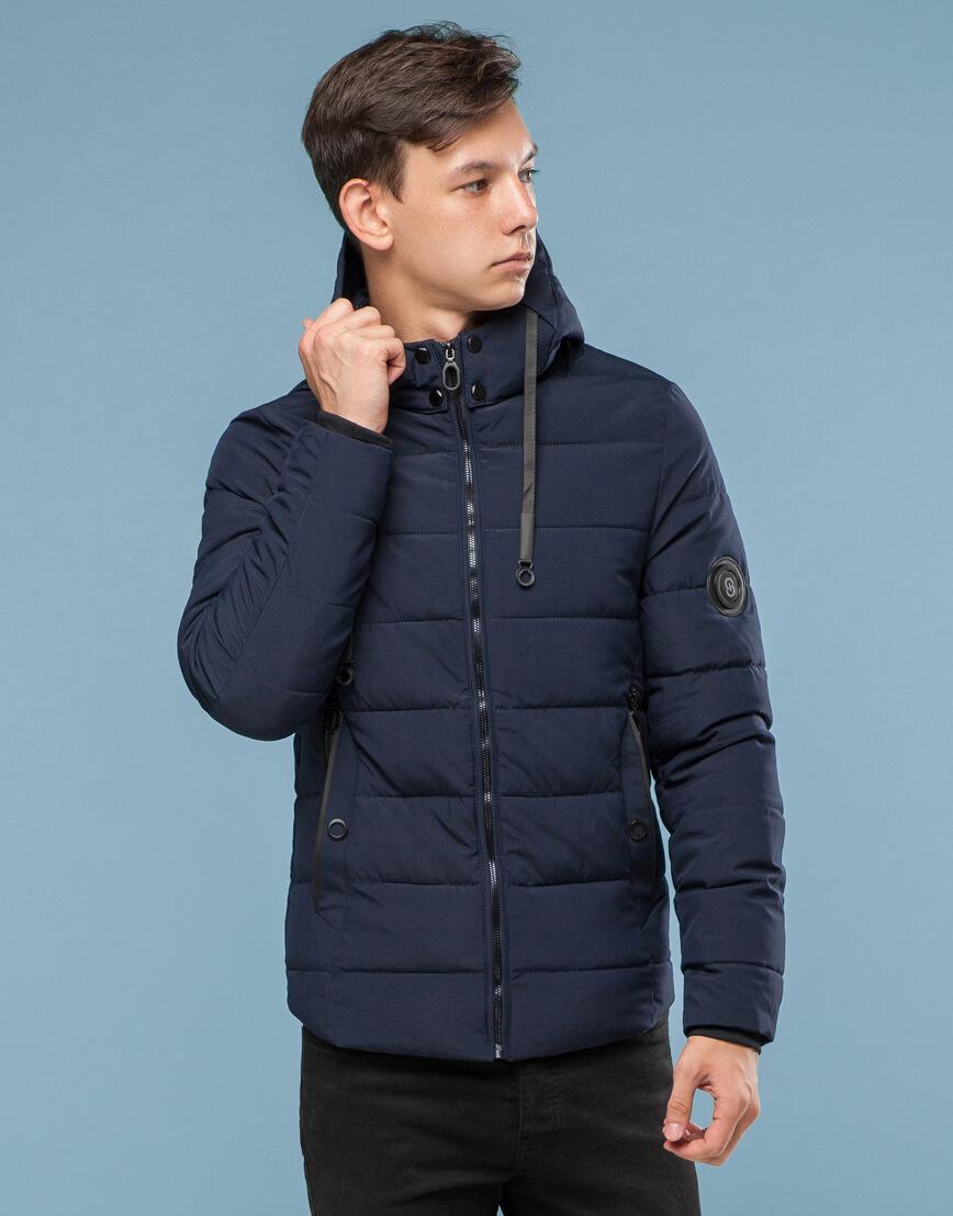 Темно-синяя подростковая комфортная куртка модель 6009 фото 3
