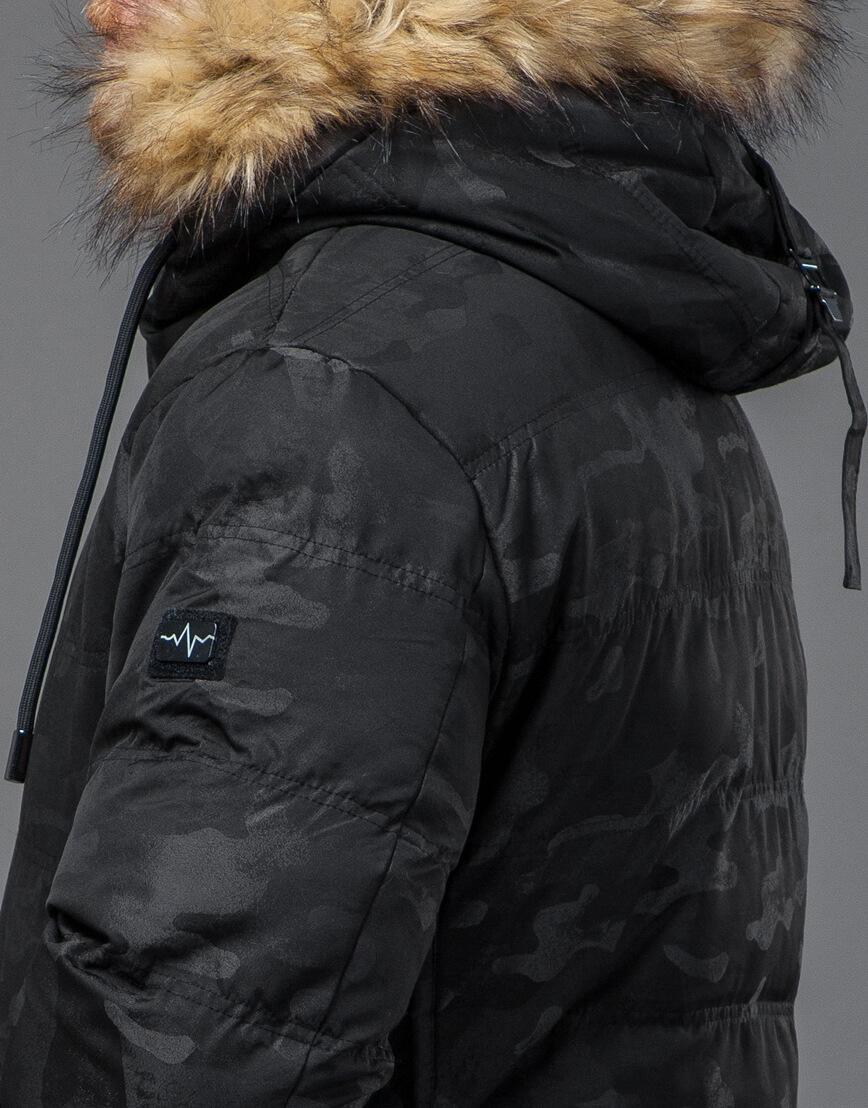 Дизайнерская черная куртка с вшитым капюшоном модель 51480 фото 7