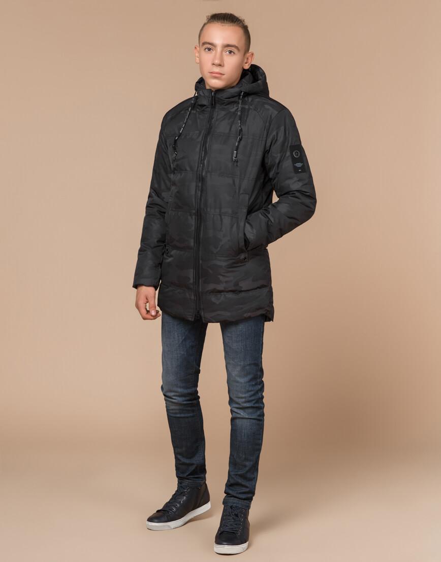 Черная куртка дизайнерская подростковая практичная модель 25060 оптом