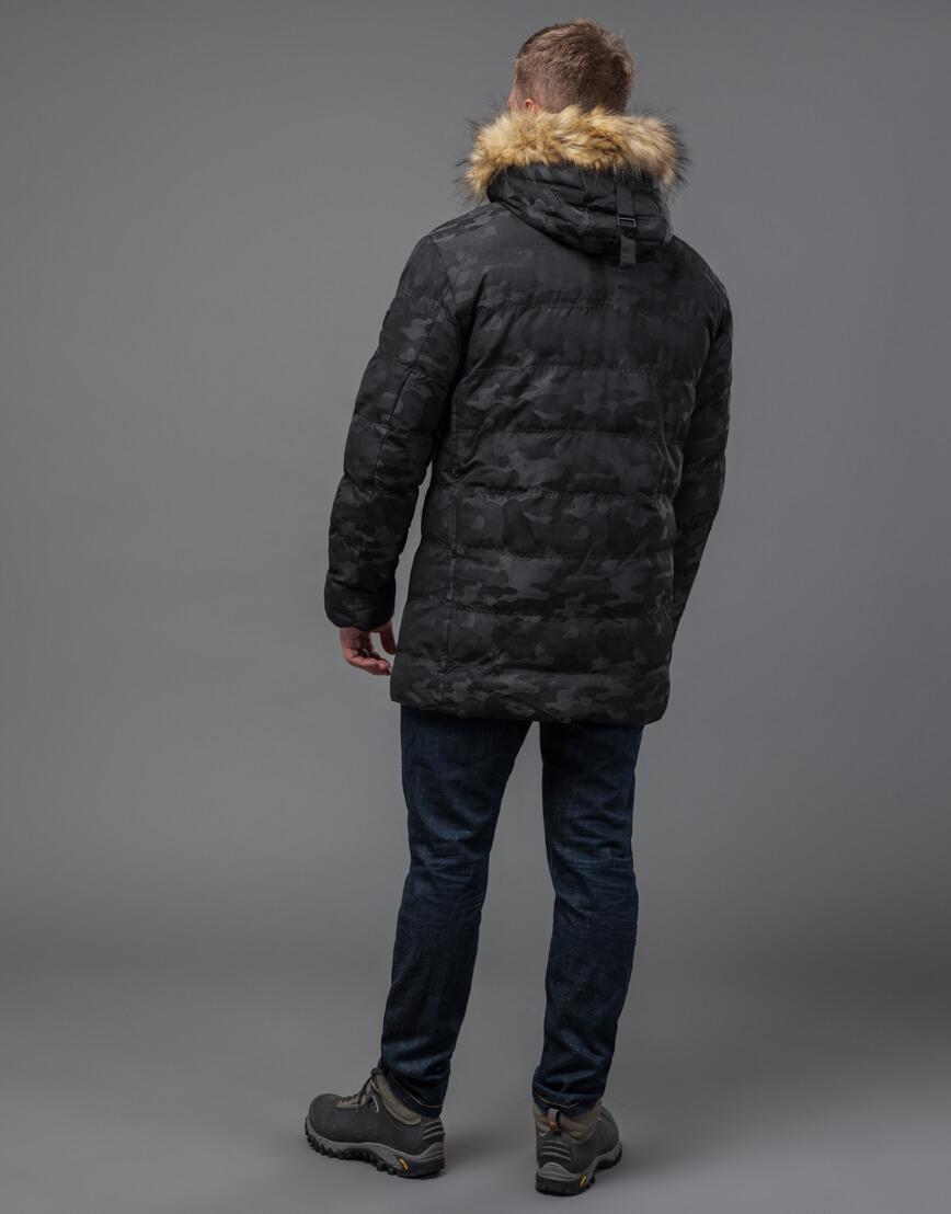 Дизайнерская черная куртка с вшитым капюшоном модель 51480 фото 4