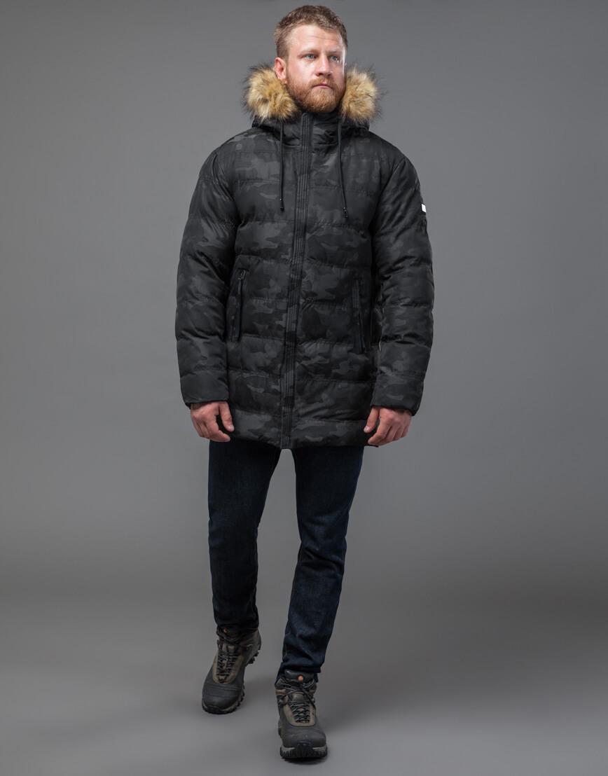 Дизайнерская черная куртка с вшитым капюшоном модель 51480 фото 2
