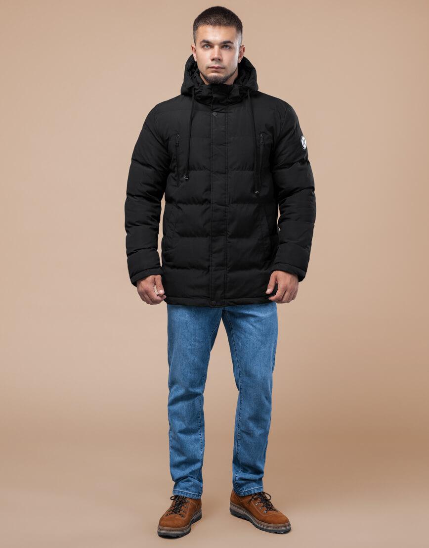 Черная куртка молодежная с капюшоном модель 25000