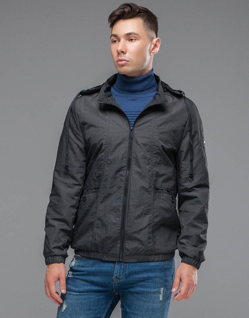 Темно-серая ветровка мужская осенне-весенняя стильная модель 38399 фото 3