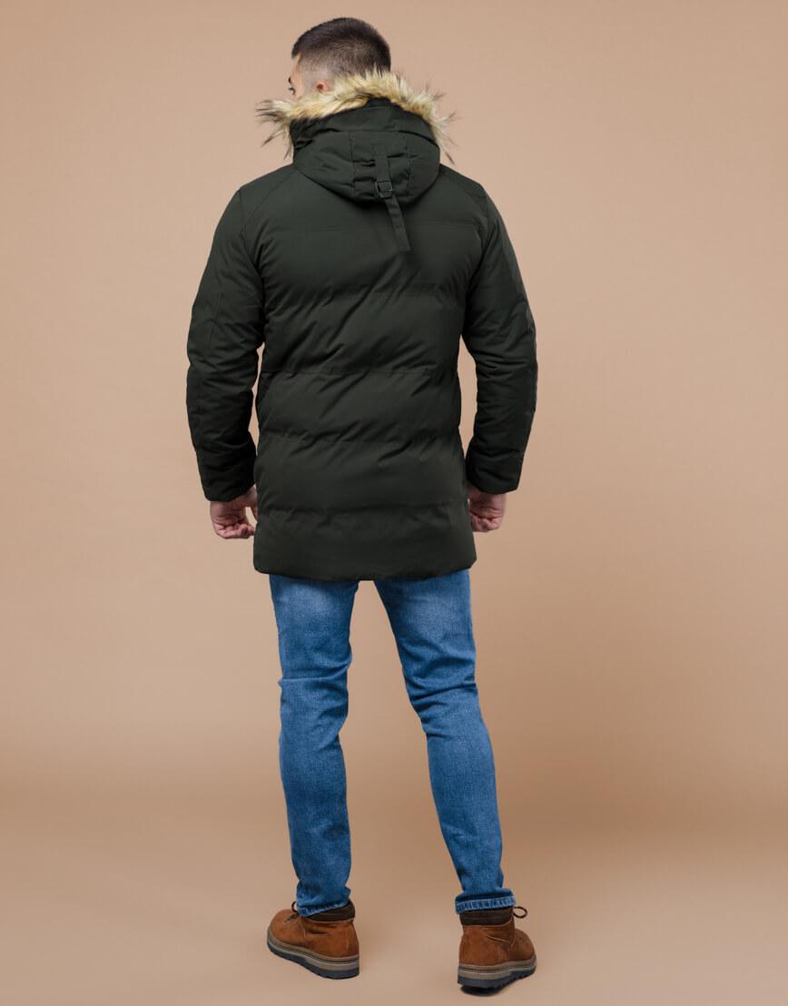 Куртка темно-зеленая зимняя брендовая модель 25270 фото 4