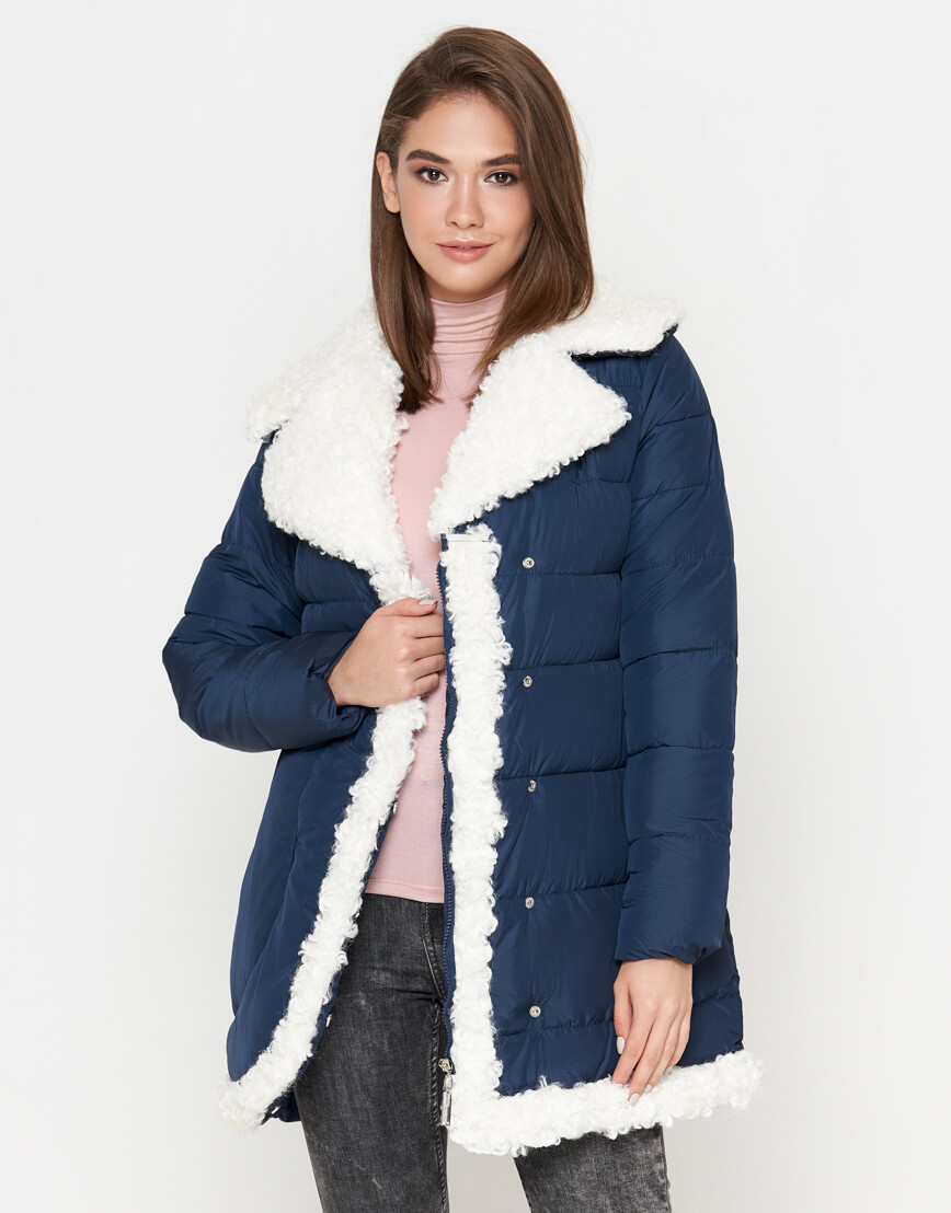 Синяя куртка теплая женская модель 2162 фото 2