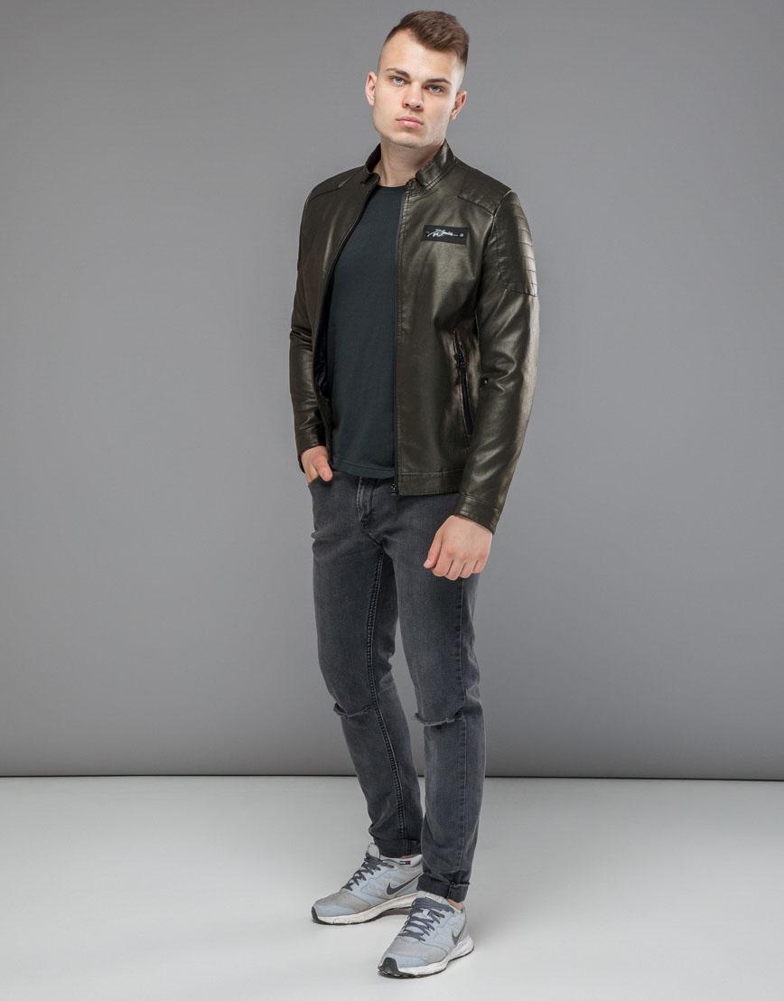 Куртка оригинальная короткая цвета хаки модель 36361 фото 3