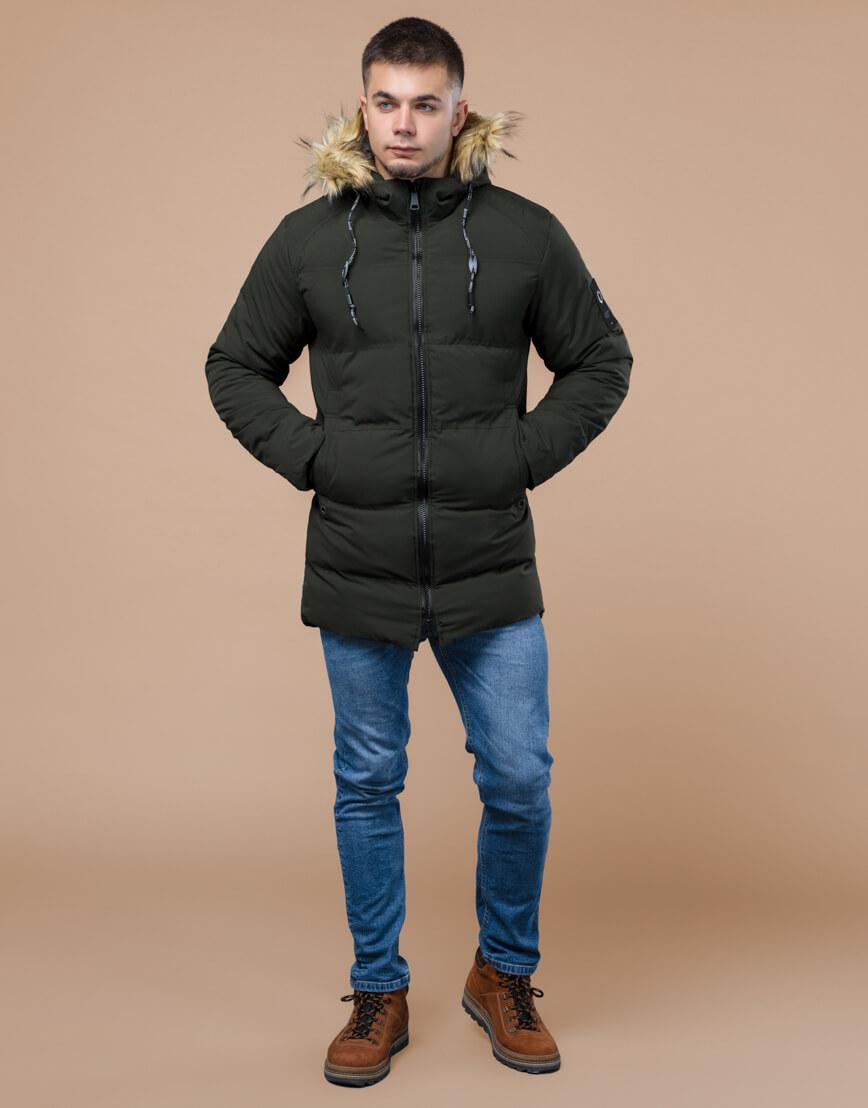 Куртка темно-зеленая зимняя брендовая модель 25270 фото 1