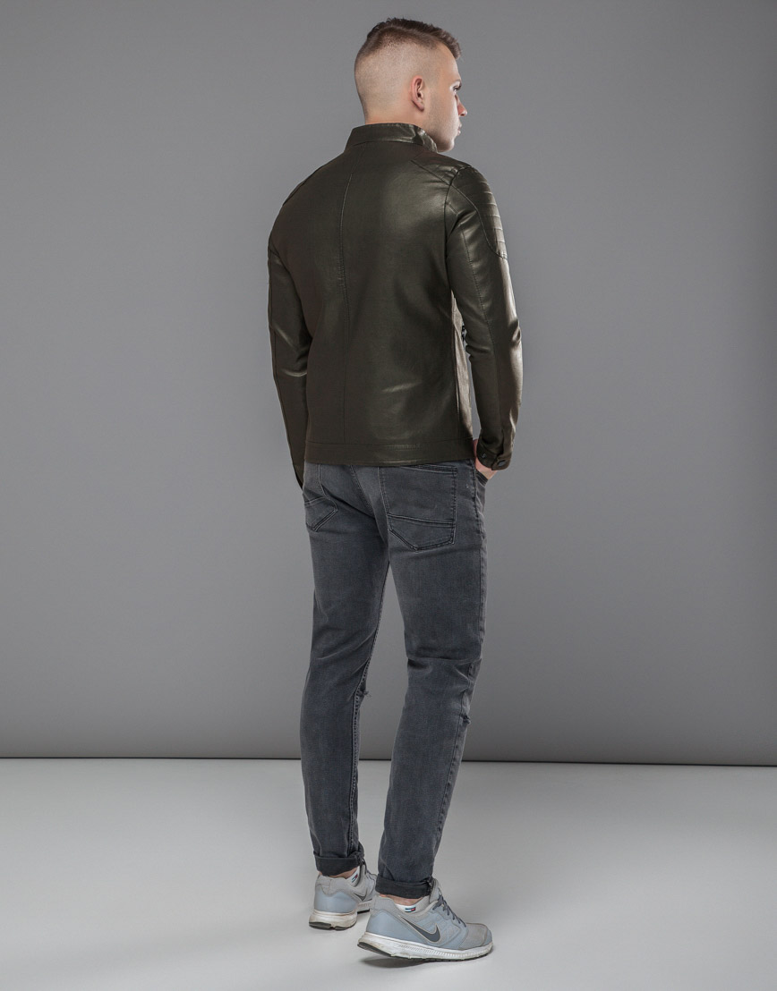 Куртка оригинальная короткая цвета хаки модель 36361 фото 4