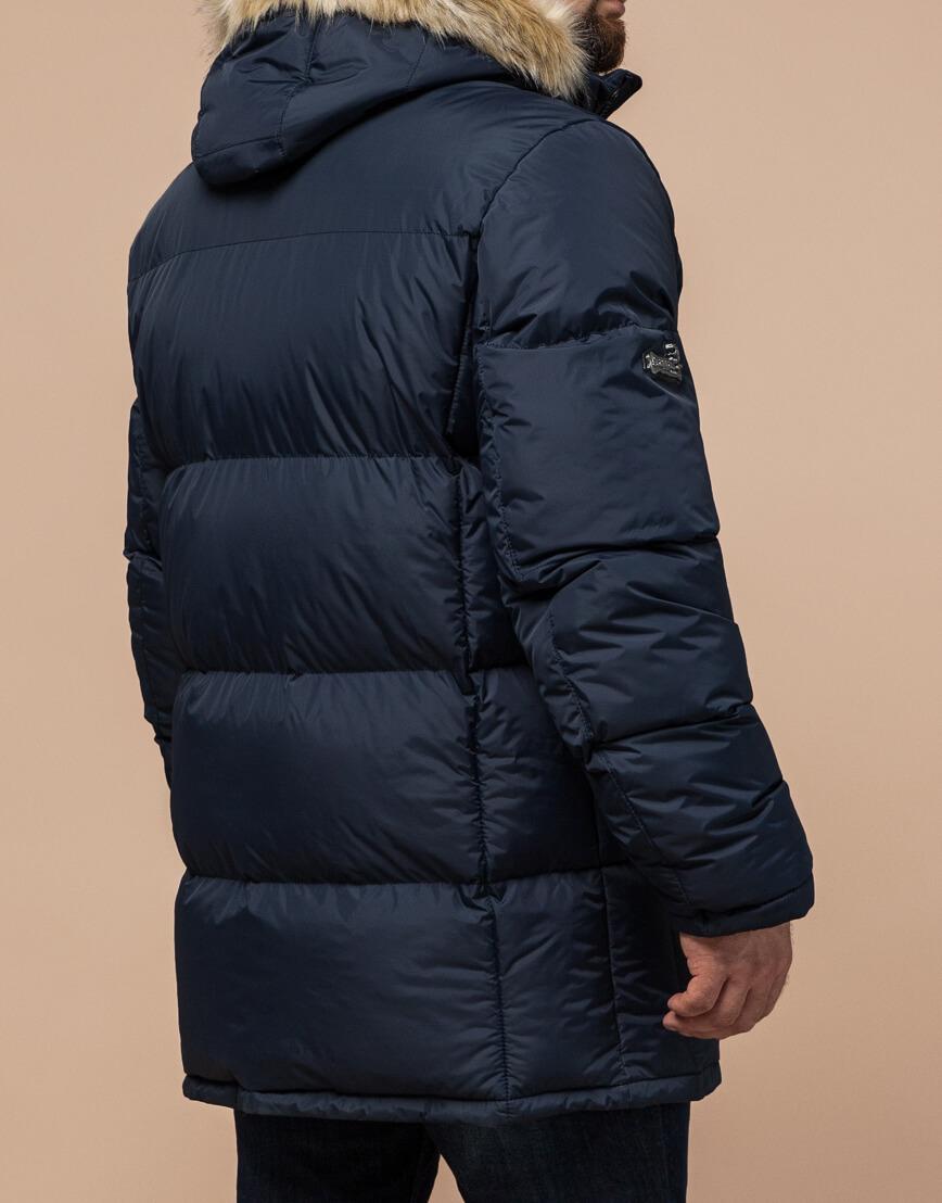 Высококачественная куртка темно-синяя большого размера модель 2084 фото 3
