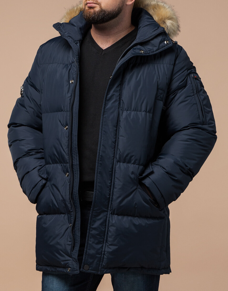 Высококачественная куртка темно-синяя большого размера модель 2084 фото 2