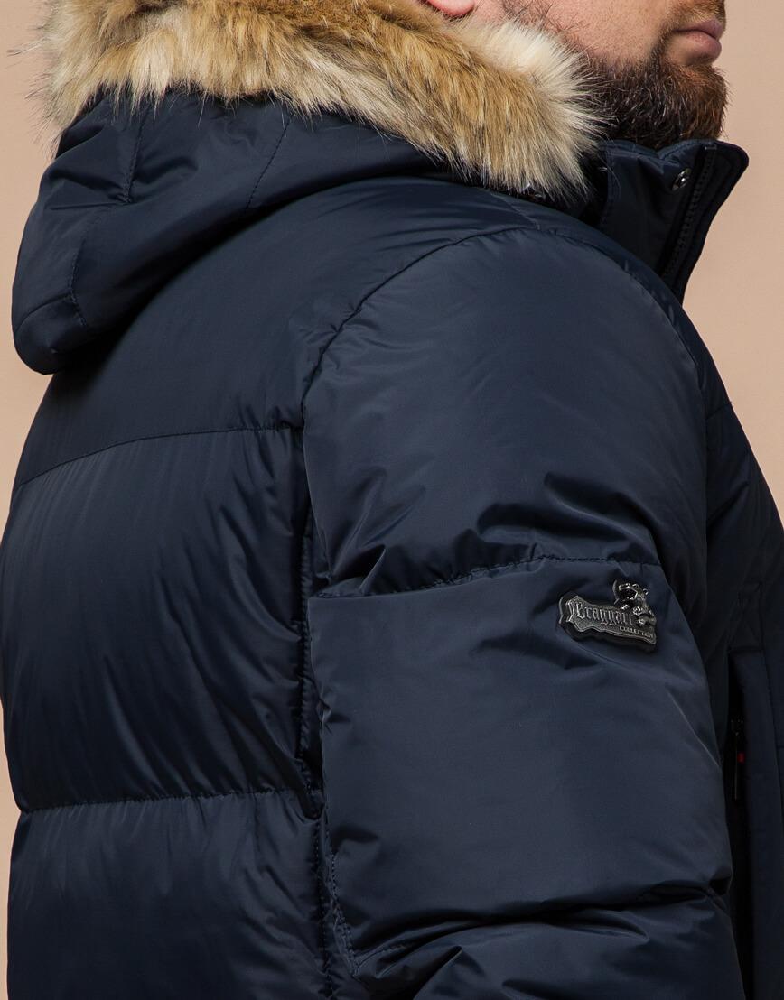 Высококачественная куртка темно-синяя большого размера модель 2084 фото 6