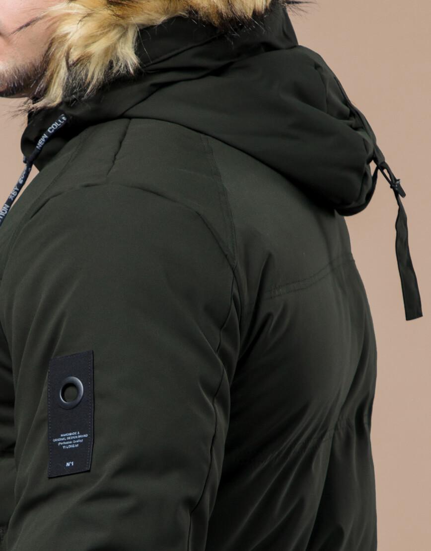 Куртка темно-зеленая зимняя брендовая модель 25270 фото 7