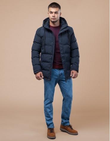 Куртка молодежная темно-синяя на зиму модель 25000 фото 1