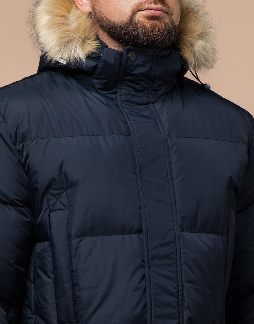 Высококачественная куртка темно-синяя большого размера модель 2084 фото 4